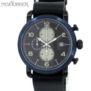 ニューヨーカー NEWYORKER 腕時計 クロノグラフ NY007.00  ブラック/ブラック メンズ  レザー 【アウトレット訳あり】|pre-ma
