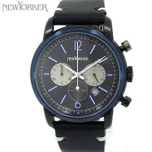 ニューヨーカー NEWYORKER 腕時計 クロノグラフ NY006.00  ブラック/ブラック メンズ  レザー 【アウトレット訳あり】|pre-ma