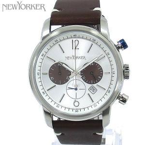 ニューヨーカー NEWYORKER 腕時計 クロノグラフ NY006.02  シルバー/ブラウン メンズ  レザー 【アウトレット訳あり】|pre-ma