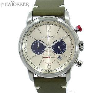 ニューヨーカー NEWYORKER 腕時計 クロノグラフ NY006.04  シルバー/カーキ メンズ  レザー 【アウトレット訳あり】