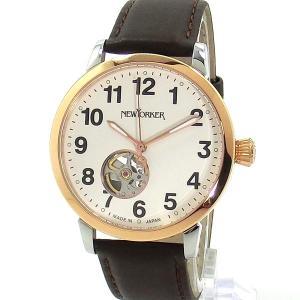 ニューヨーカー NEWYORKER 腕時計 BEATS 自動巻き NY001.12 PG/ブラウン メンズ  レザー 【アウトレット訳あり】|pre-ma