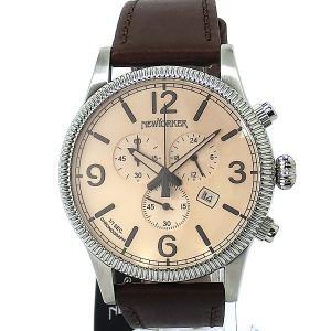 ニューヨーカー NEWYORKER 腕時計 coinedge  NY008.02 クロノグラフ メンズ  SV/BR レザー 【アウトレット訳あり】|pre-ma