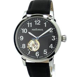 ニューヨーカー NEWYORKER 腕時計 BEATS 自動巻き NY001.13  SV/ブラック メンズ  レザー 【アウトレット訳あり】|pre-ma