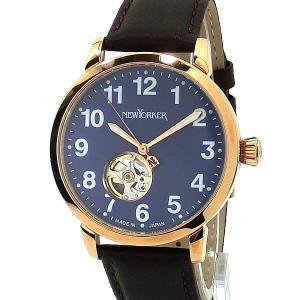 ニューヨーカー NEWYORKER 腕時計 BEATS 自動巻き NY001.15 PG/ブルー・ブラウン メンズ  レザー 【アウトレット訳あり】|pre-ma