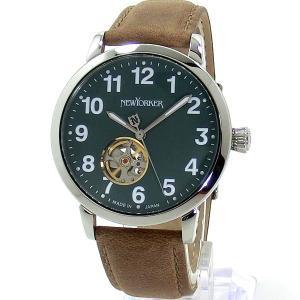 ニューヨーカー NEWYORKER 腕時計 BEATS 自動巻き NY001.14  グリーン/ブラウン メンズ  レザー 【アウトレット訳あり】|pre-ma