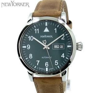 ニューヨーカー NEWYORKER 腕時計 自動巻き DD-BEATS  NY002.14 デイデイト メンズ  グリーン/ブラウン レザー 【アウトレット訳あり】|pre-ma