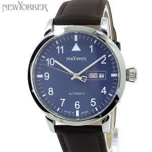 ニューヨーカー NEWYORKER 腕時計 自動巻き DD-BEATS  NY002.15 デイデイト メンズ  ブルー/ブラウン レザー 【アウトレット訳あり】|pre-ma