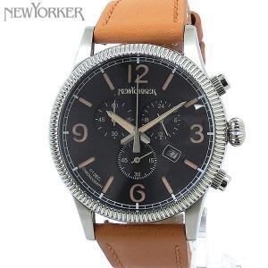 ニューヨーカー NEWYORKER 腕時計 coinedge  NY008.03 クロノグラフ メンズ  SV/ライトブラウン レザー 【アウトレット訳あり】|pre-ma