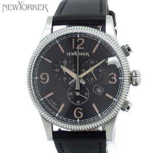 ニューヨーカー NEWYORKER 腕時計 coinedge  NY008.09 クロノグラフ メンズ  SV/ブラック レザー 【アウトレット訳あり】|pre-ma