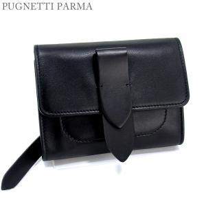 PUGNETTI PARMA 二つ折り財布 ブラック レディース レザー イタリア製 新品直輸入品|pre-ma