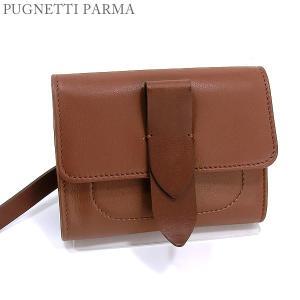 PUGNETTI PARMA 二つ折り財布 ブラウン レディース レザー イタリア製 新品直輸入品|pre-ma