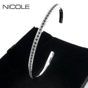 NICOLE ニコル バングル/カフブレスレット シルバー925/ジルコニア NC-LS234BW シルバー ギフトBOX|pre-ma