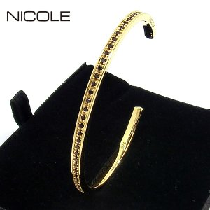 NICOLE ニコル バングル/カフブレスレット シルバー925/ジルコニア NC-LS234BY ゴールド ギフトBOX|pre-ma