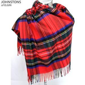 Johnstons ジョンストンズ カシミア ストール WA000056 KU0303 Royal Stewart/レッド 大判 195cm×74cm|pre-ma
