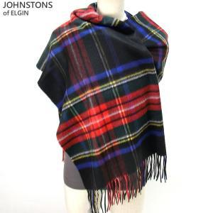 Johnstons ジョンストンズ カシミア ストール WA000056 KU0324 Black Stewart 大判 195cm×74cm|pre-ma