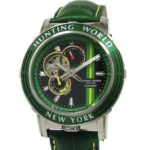 ハンティングワールド メンズ腕時計 HW993GR アディショナルタイム 自動巻 グリーン レザー  新品 限定1点 決算SSP pre-ma