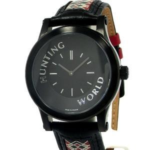 ハンティングワールド メンズ腕時計 HWS001BK ブラック レザー フランス製 新品 決算SSP pre-ma