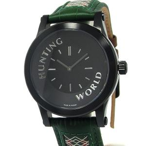 ハンティングワールド メンズ腕時計 HWS001GR グリーン レザー フランス製 新品 決算SSP pre-ma