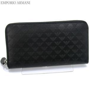 エンポリオ アルマーニ 長財布 ラウンドファスナー YEME49 YC043 80001 ロゴ型押し メンズ EMPORIO ARMANI