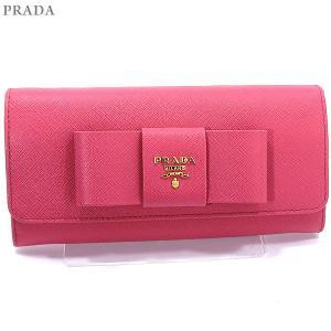 PRADA プラダ 財布 二つ折り長財布 リボン 1MH132 ZTM F0505 SAFFIANO FIOCCO PEONIA/ピンク パスケース付|pre-ma