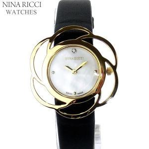 ニナリッチ NINA RICCI  腕時計 レディース N073005 SM ゴールド ブラックレザー スイス製|pre-ma