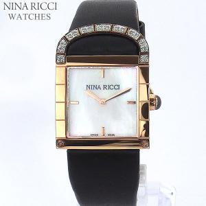 ニナリッチ NINA RICCI  腕時計 レディース N049014 SM スクエア  ローズゴールド ブラックレザー スイス製|pre-ma