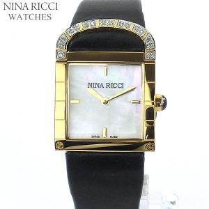 ニナリッチ NINA RICCI  腕時計 レディース N049012 SM スクエア  イエローゴールド ブラックレザー スイス製|pre-ma