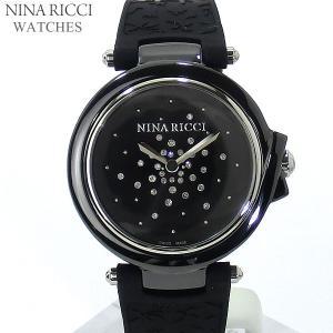 ニナリッチ NINA RICCI  腕時計 レディース N068002 ブラック/シルバー セラミック&ラバーベルト スイス製|pre-ma