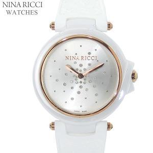 ニナリッチ NINA RICCI  腕時計 レディース N068003 ホワイト/ローズゴールド セラミック&ラバーベルト スイス製|pre-ma