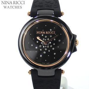 ニナリッチ NINA RICCI  腕時計 レディース N068004 ブラック/ローズゴールド セラミック&ラバーベルト スイス製|pre-ma