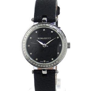 ニナリッチ NINA RICCI  腕時計 レディース N048002 SM 30mm シルバー ブラックレザー スイス製|pre-ma