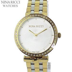 ニナリッチ NINA RICCI  腕時計 レディース N043011 SM 37mm  ダイヤべゼル ゴールド&シルバー ステンレス スイス製|pre-ma