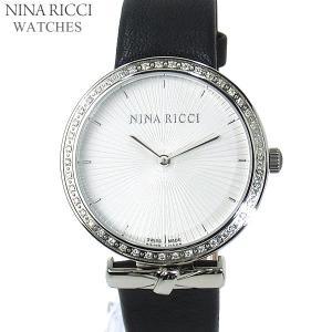 ニナリッチ NINA RICCI  腕時計 レディース N043006 SM 37mm ダイヤベゼル シルバー  ブラック レザーベルト スイス製|pre-ma