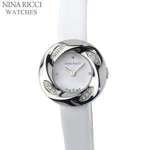 ニナリッチ NINA RICCI  腕時計 レディース N033.62.21.82  23mm ダイヤ12Pベゼル シルバー ホワイト レザー スイス製|pre-ma