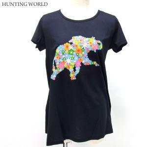ハンティングワールド Tシャツ 半袖 レディース 0108-NV ネイビー プリント イタリア製 コットン100%|pre-ma