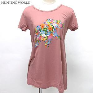 ハンティングワールド Tシャツ 半袖 レディース 0108-PK ピンク プリント イタリア製 コットン100%|pre-ma