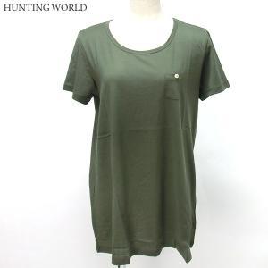 ハンティングワールド Tシャツ 半袖 レディース F3986-PKH カーキ イタリア製 コットン100%|pre-ma
