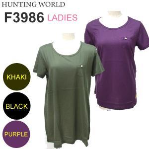 ハンティングワールド Tシャツ 半袖 レディース F3986-PPP パープル イタリア製 コットン100%|pre-ma