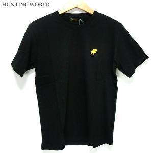 ハンティングワールド Tシャツ 半袖 メンズ C6096-PBK ブラック イタリア製 コットン100%|pre-ma