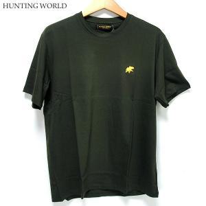 ハンティングワールド Tシャツ 半袖 メンズ C6096-PKH カーキグリーン イタリア製 コットン100%|pre-ma