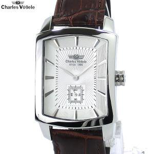 シャルルホーゲル 腕時計 メンズ CV-9077-2 WH トノー型 日本製クォーツ レザー