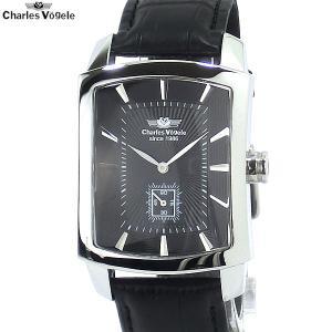 シャルルホーゲル 腕時計 メンズ CV-9077-3 BK トノー型 日本製クォーツ レザー