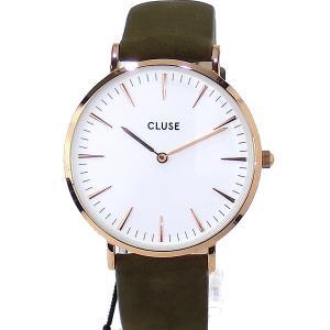 CLUSE クルース 腕時計 レディース 38mm CL18023 RG/カーキ スエード  ラ・ボエーム【アウトレット展示品特価】|pre-ma