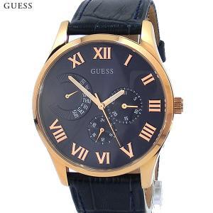 ゲス ウォッチ メンズ腕時計 GUESS W0608G2 ローズゴールド/ネイビー レザー 新品|pre-ma