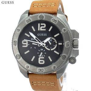 ゲス ウォッチ メンズ腕時計 GUESS W0659G4 デイデイト SV/LBR レザー 新品|pre-ma