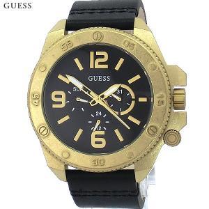 ゲス ウォッチ メンズ腕時計 GUESS W0659G2 デイデイト YG/BK レザー 新品|pre-ma