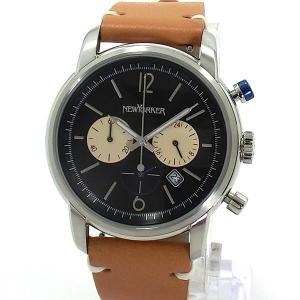 ニューヨーカー NEWYORKER 腕時計 クロノグラフ NY006.03  ブラック/ライトブラウン メンズ  レザー 【アウトレット訳あり】|pre-ma