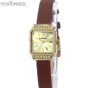 ニューヨーカー NEWYORKER 腕時計 レディース NY009.12 スクエア ゴールド/ブラウンレザー 【アウトレット】|pre-ma