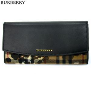 BURBERRY バーバリー 長財布 3996533 HONEY/BLACK カモフラージュ ホースフェリー チェック 新品|pre-ma