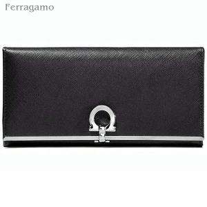 【アウトレット箱不良】フェラガモ 二つ折り 財布 長財布 273805 224633 NERO ブラック/シルバー Salvatore Ferragamo|pre-ma
